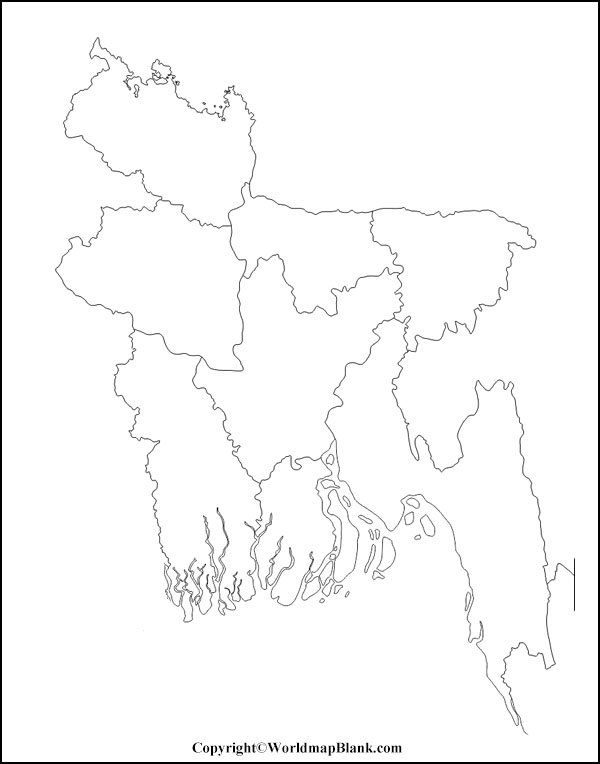 Blank Map of Bangladesh – Outline,