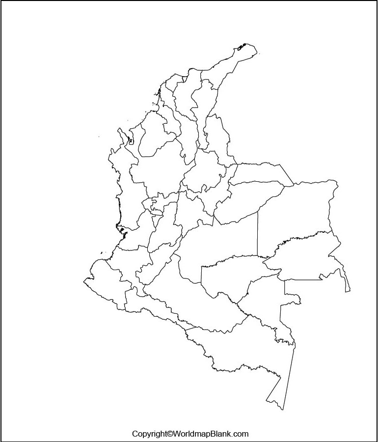 Blank Map of Colombia Outline