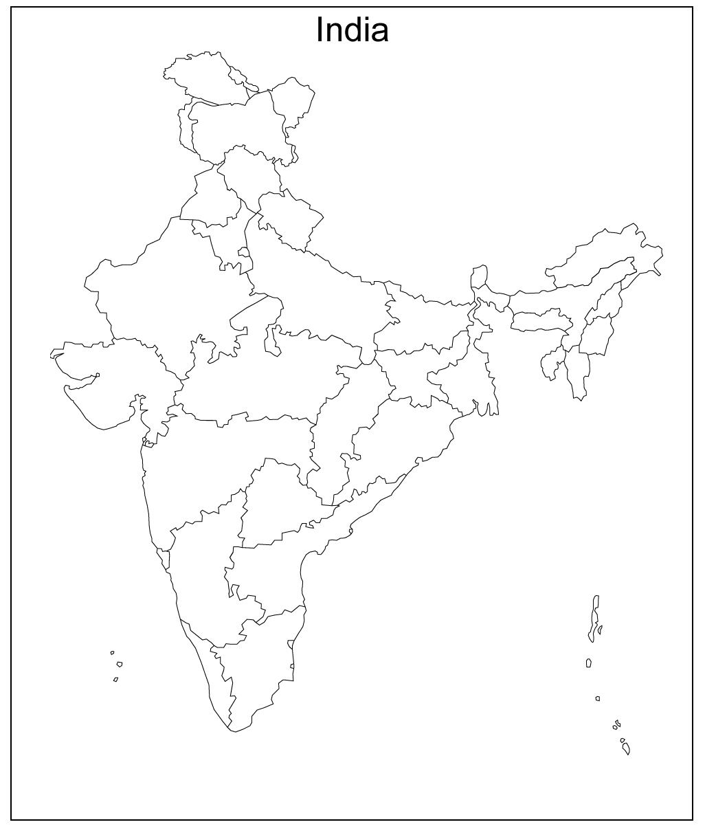 India Blank Map Outline