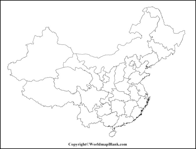 Map of China for Practice Worksheet