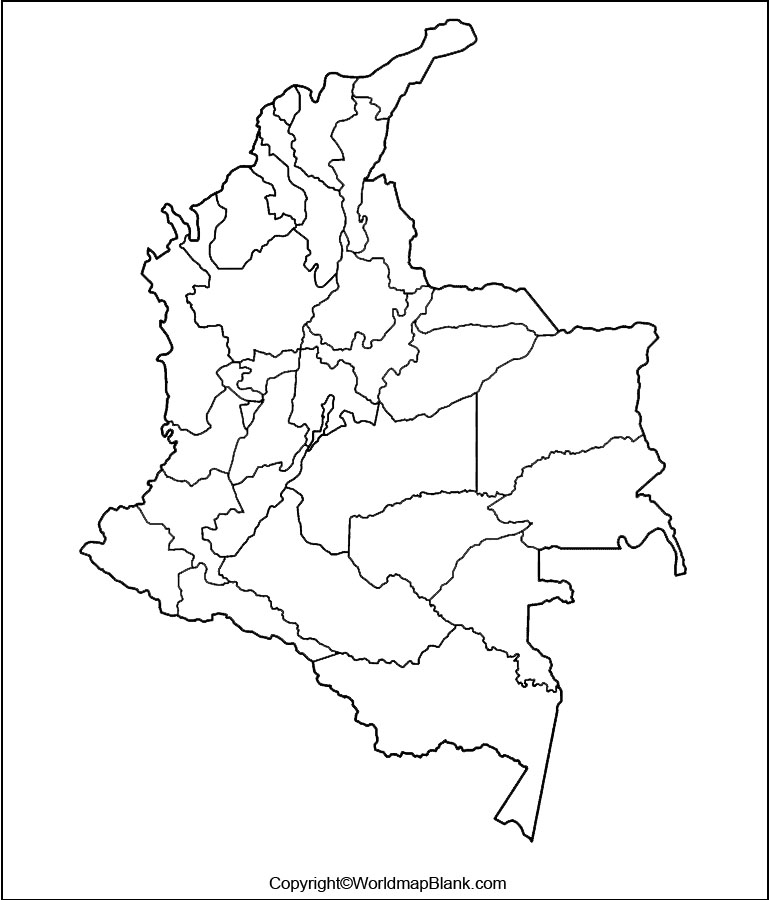 Map of Colombia for Practice Worksheet