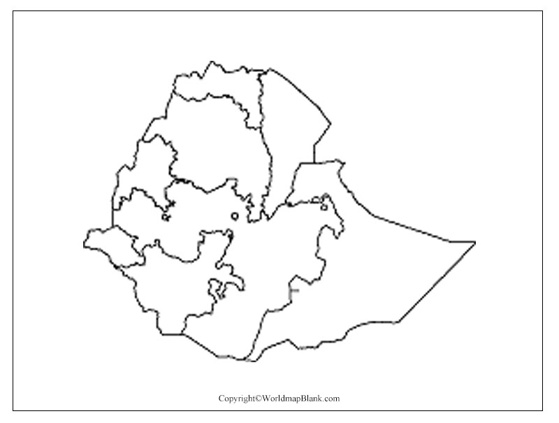 Map of Ethiopia for Practice Worksheet
