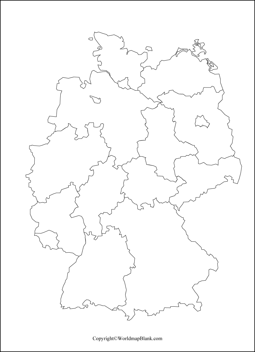 Germany Blank Map for Practice Worksheet