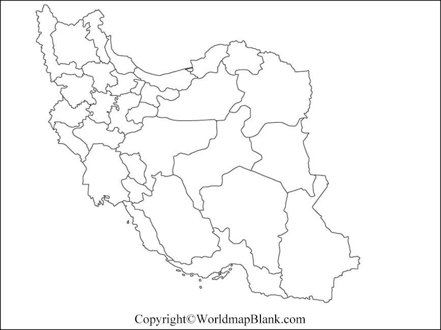 Map of Iran for Practice Worksheet