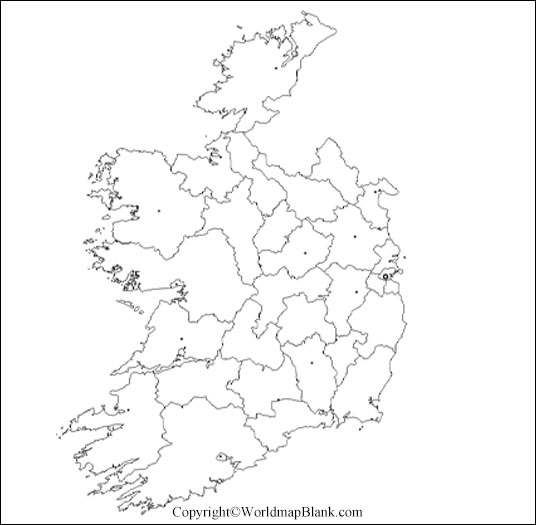 Map of Ireland for Practice Worksheet