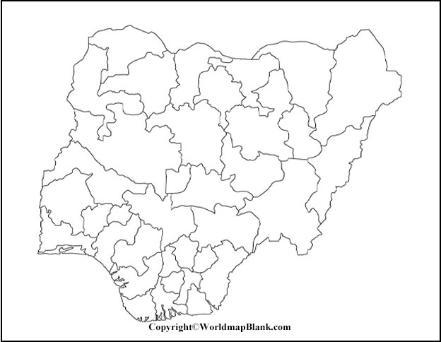 Map of Nigeria for Practice Worksheet