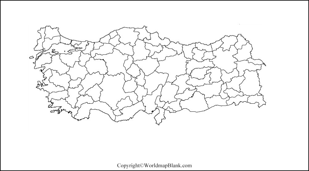 Map of Turkey for Practice Worksheet