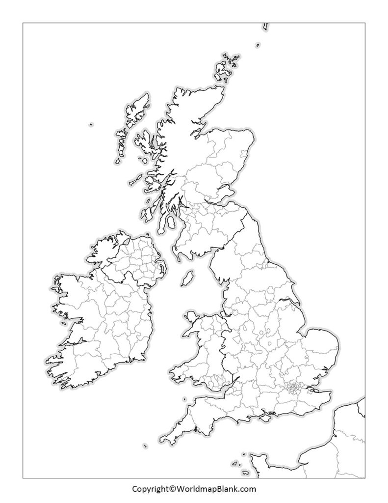 Map of UK for Practice Worksheets