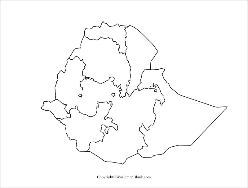Printable Map of Ethiopia
