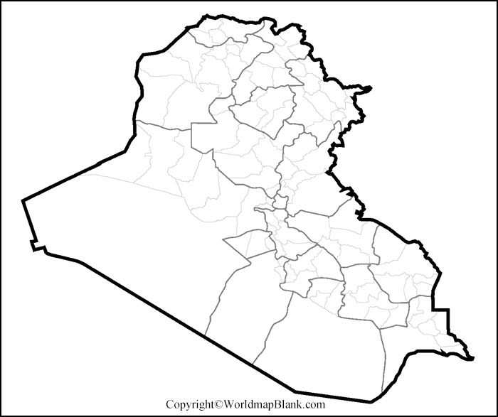 Iraq Blank Map Outline