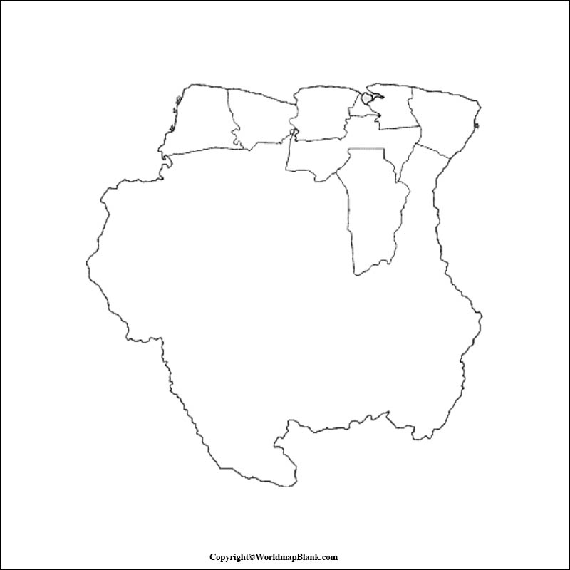 Blank Map of Suriname