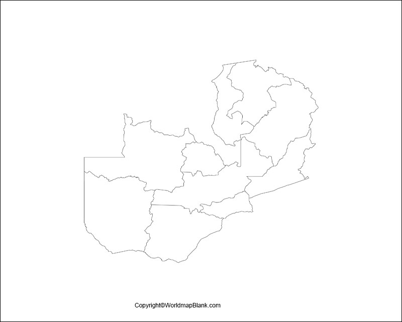 Zambia Blank Map Outline