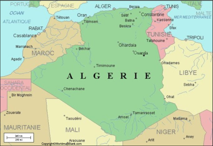 Labeled Algeria with Capital