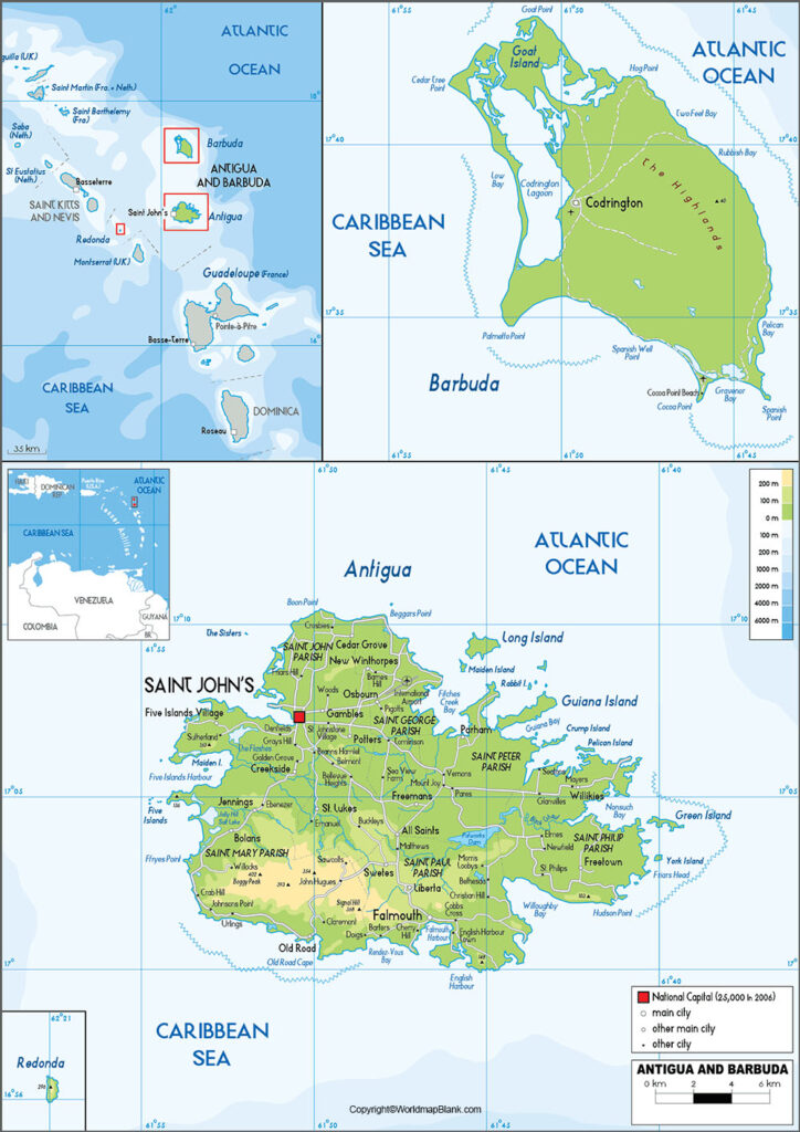 Labeled Antigua and Barbuda Map with Capital