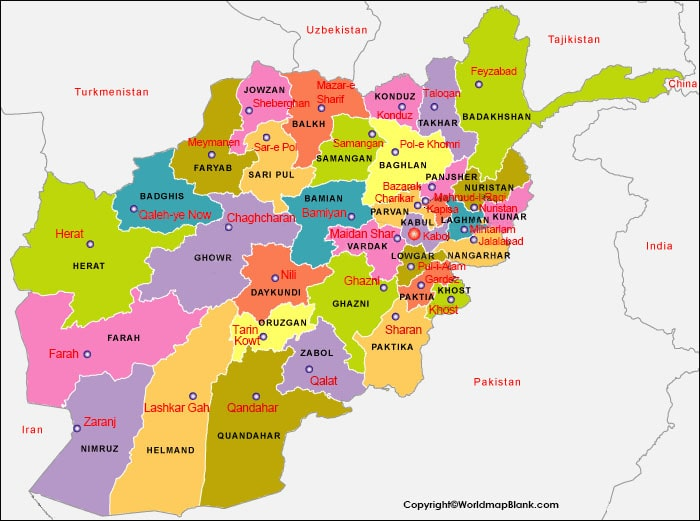 Labeled Afghanistan with Capital