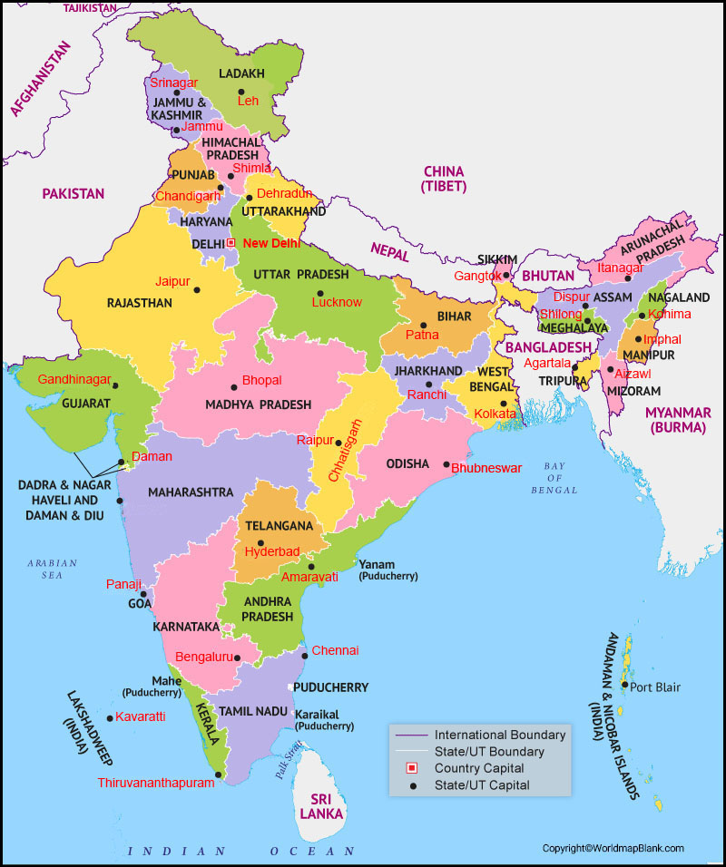 Labeled India with Capital