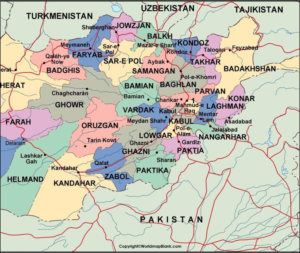 Labeled Map of Afghanistan with Cities