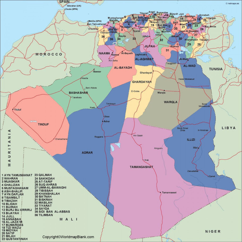 Image of: Labeled Map Of Algeria With States Capital Cities
