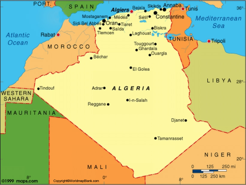 Labeled Map of Algeria with States