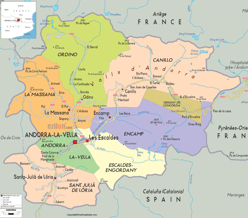 Labeled Map of Andorra