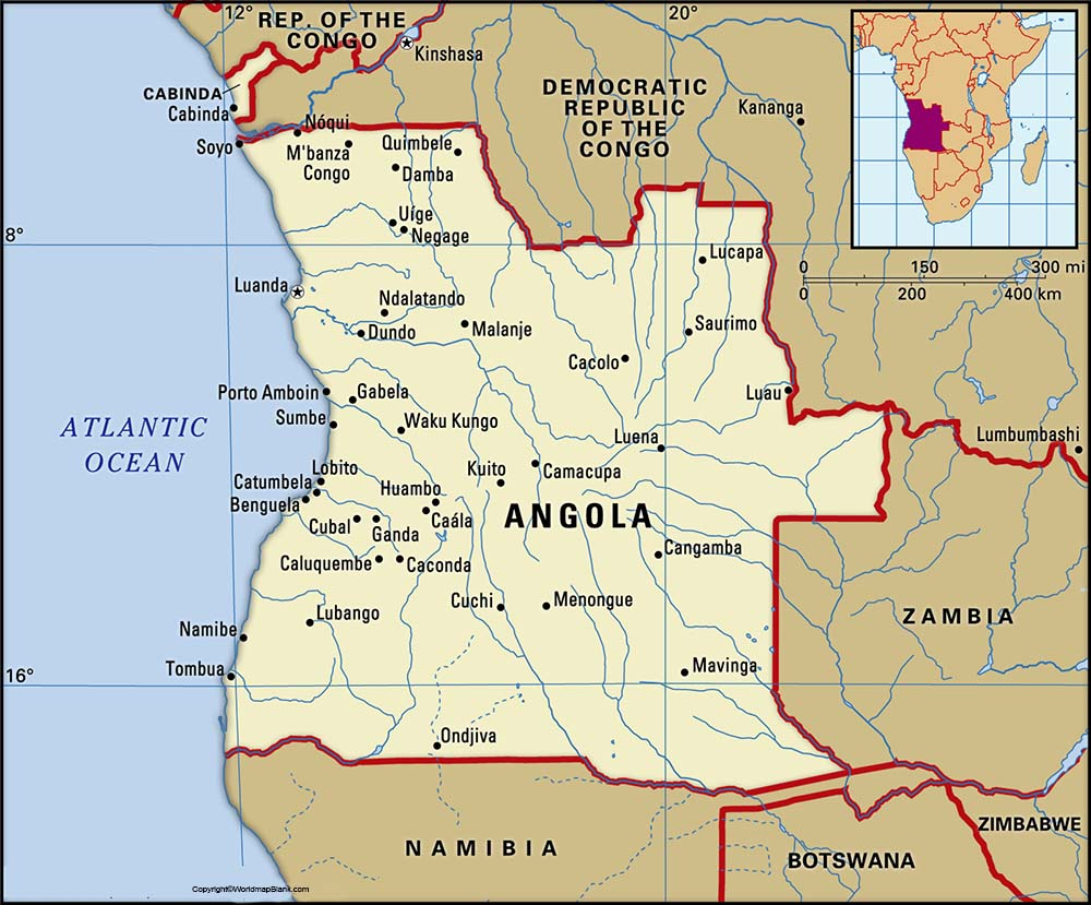 Labeled Map of Angola with States