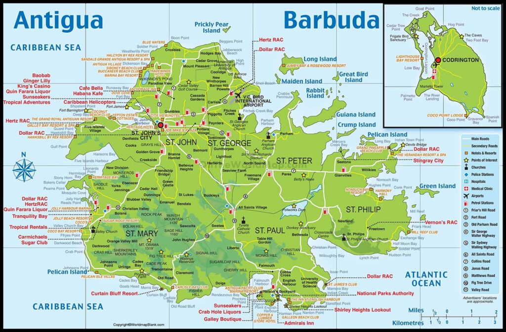 Labeled Map of Antigua and Barbuda
