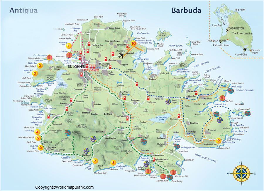 Labeled Map of Antigua and Barbuda with Cities