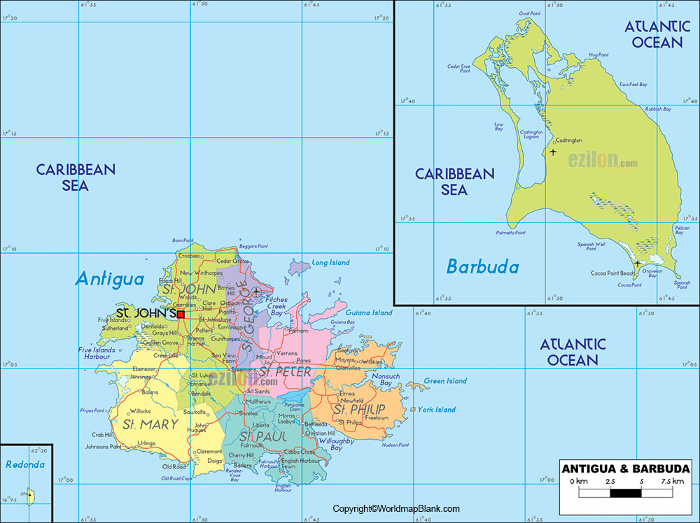 Labeled Map of Antigua and Barbuda with States