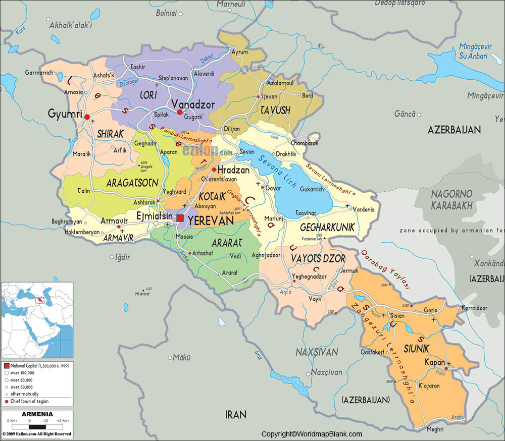 Labeled Map of Armenia with Cities