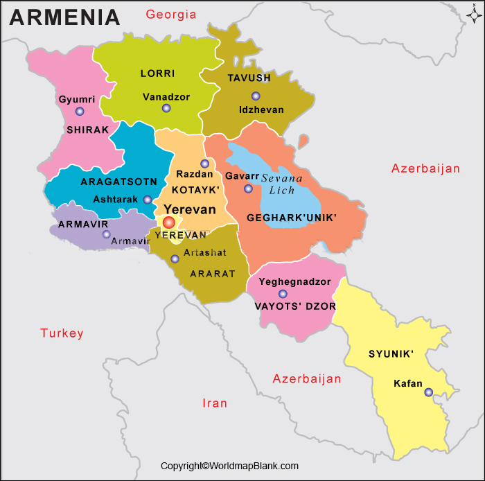 Labeled Map of Armenia with States
