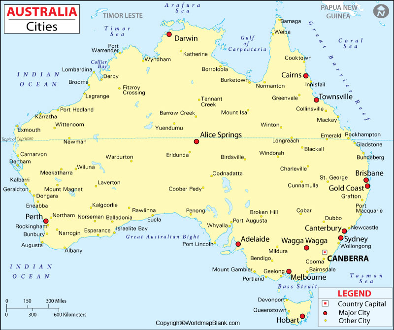 Labeled Map of Australia with Cities
