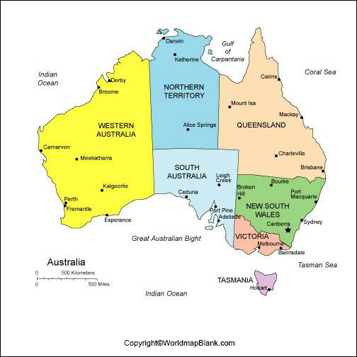 Labeled Map of Australia with States