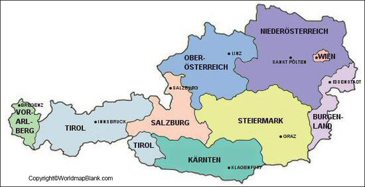 Labeled Map of Austria with States
