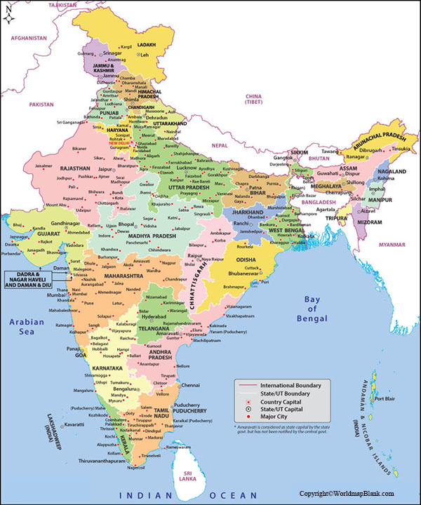 Labeled Map of India with Cities