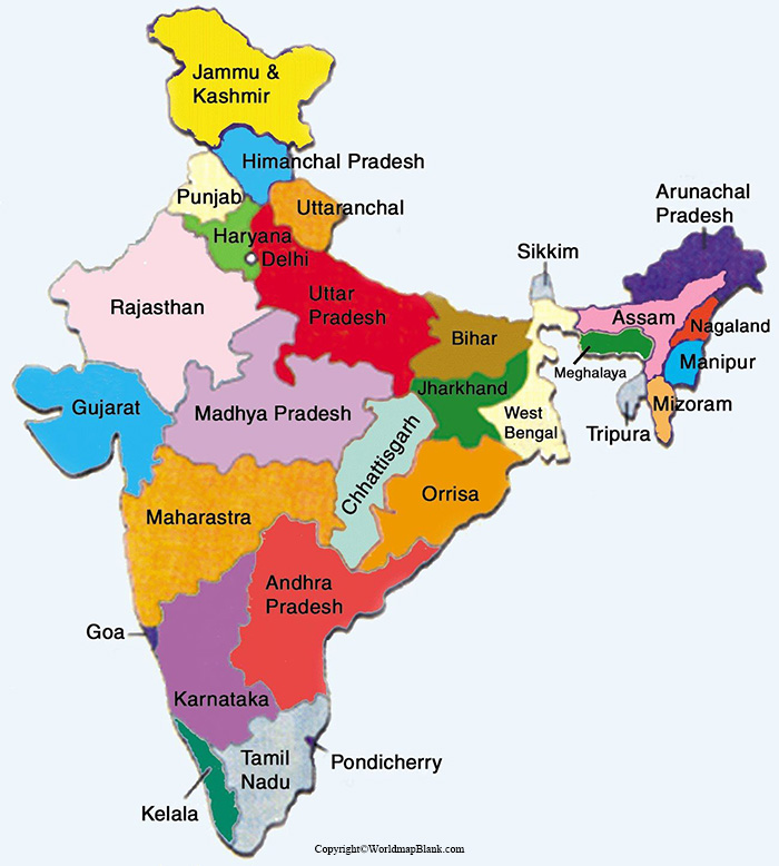 Labeled Map of India with States