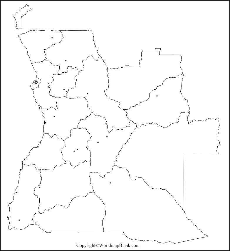 Printable Map of Angola