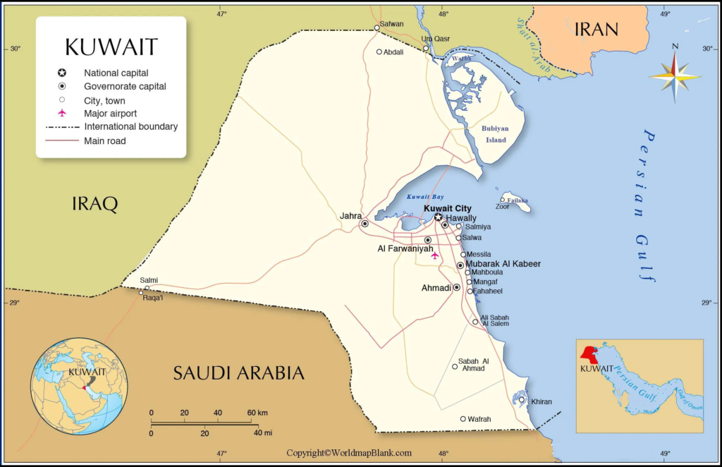 Labeled Kuwait Map with Capital