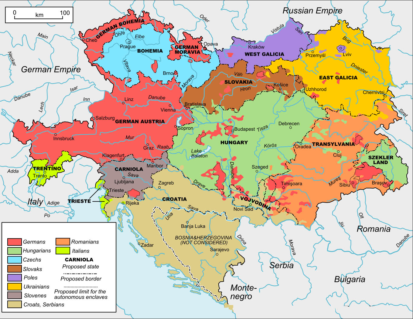 Labeled Map of Austrian Empire with States