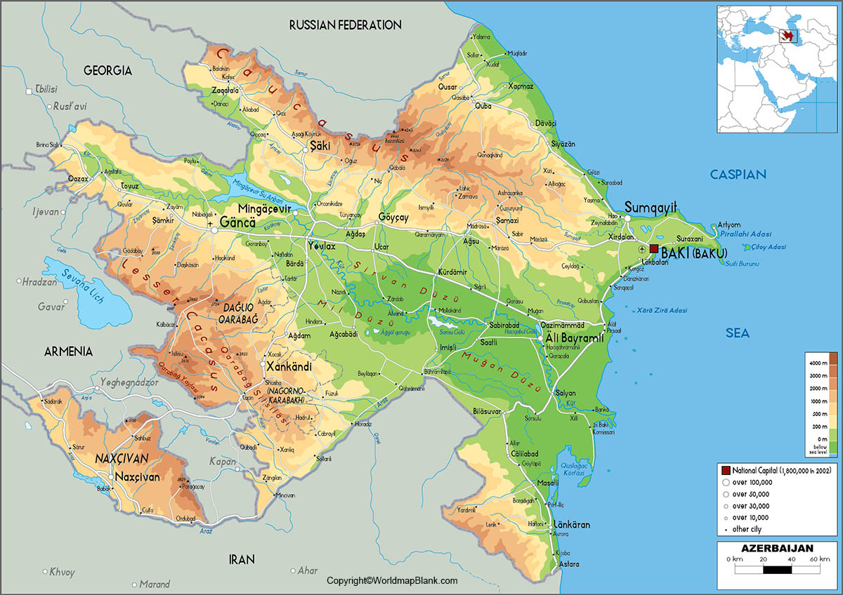 Labeled Map of Azerbaijan with States