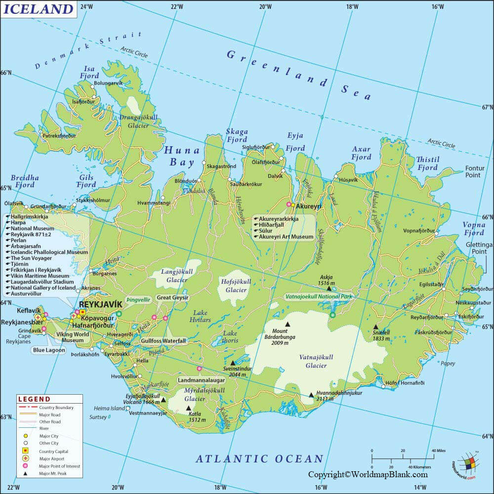 Labeled Map of Iceland with Cities