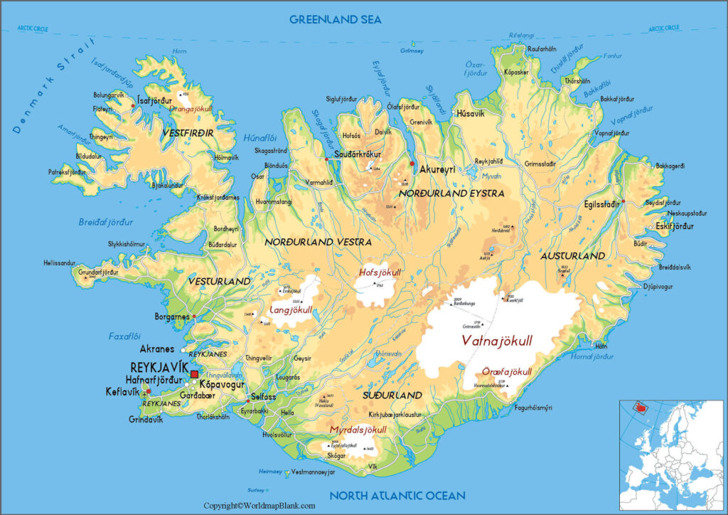 Labeled Map of Iceland with States