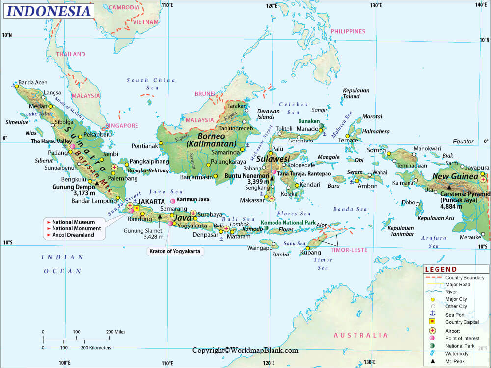 Labeled Map of Indonesia with Cities