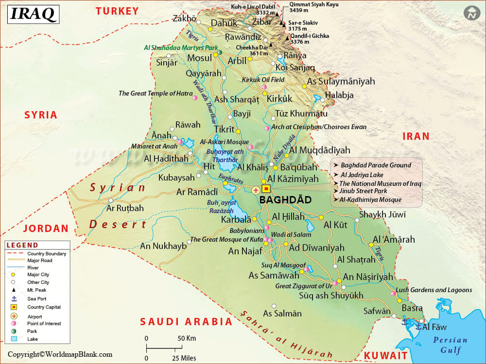 Labeled Map of Iraq with Cities