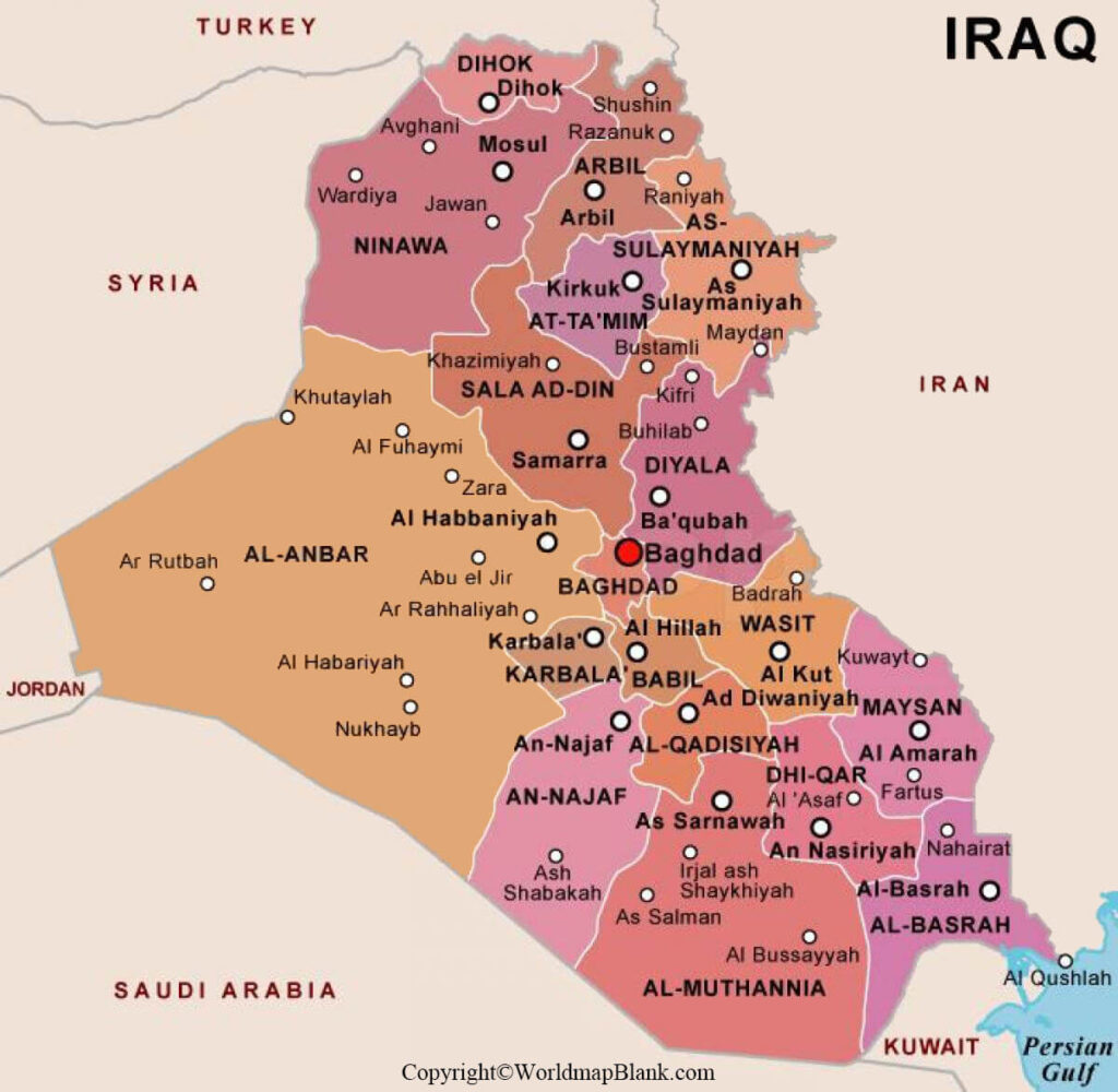 Labeled Map of Iraq with States