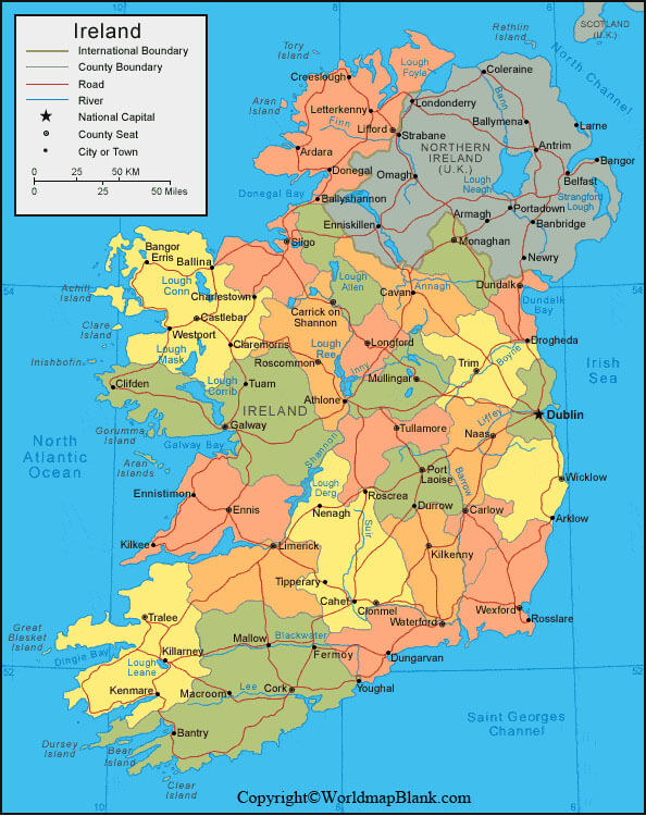 Labeled Ireland Map with Capital