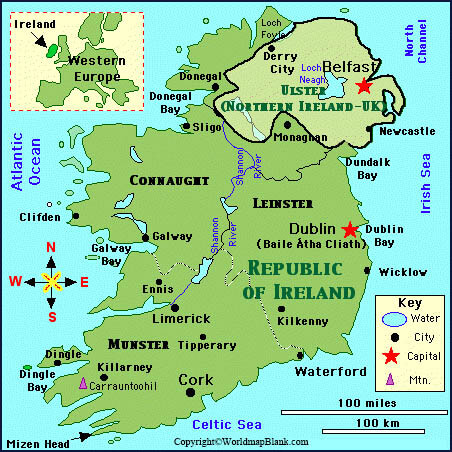 Labeled Map of Ireland with Cities