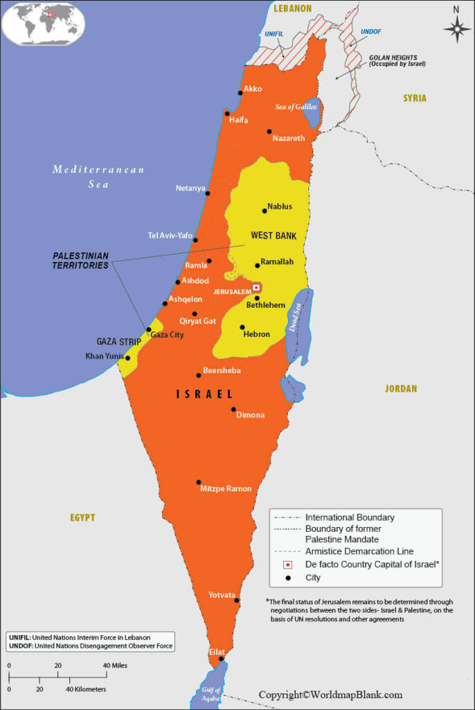 Picture of: Labeled Map Of Israel With States Capital Cities