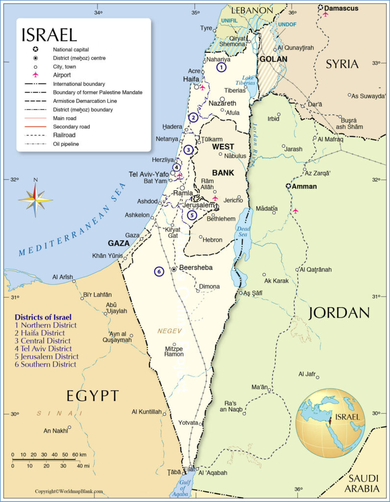 Labeled Map of Israel with Cities