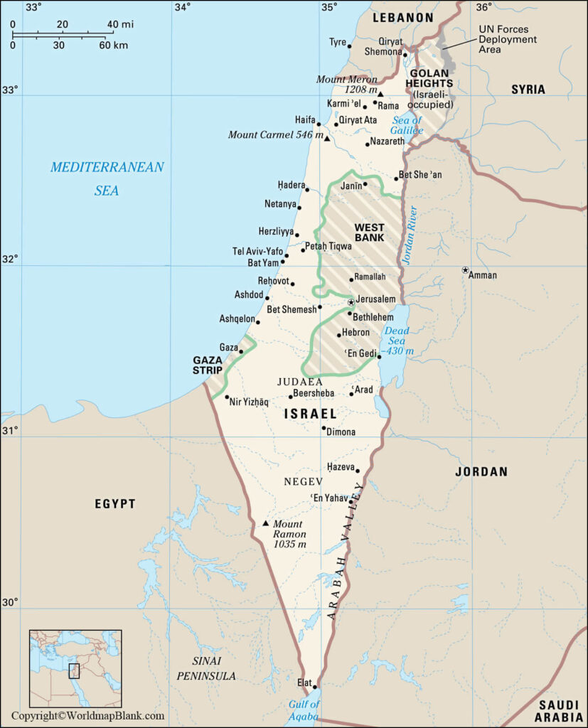 Labeled Map of Israel with States