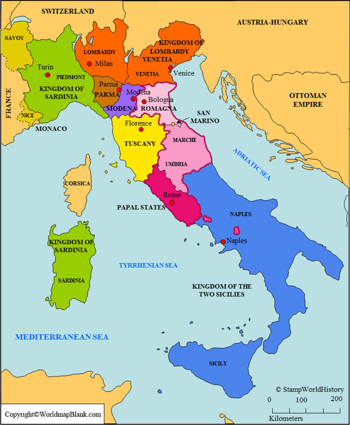 Labeled Map of Italy with States